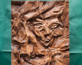 "Original artwork, Wooden bas-relief sculpture, ""Behind the curtain"""