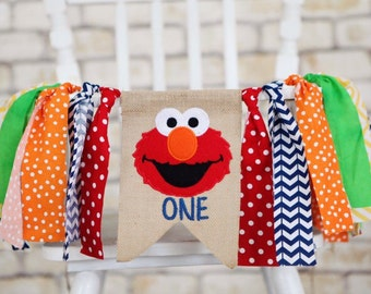 ELMO primary colors Sesame Street inspired birthday banner first one birthday party garland bunting cake smash highchair