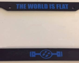 JDM The World is Flat - Pistons Boxster Engine   - Black with Blue  Automotive License Plate Frame