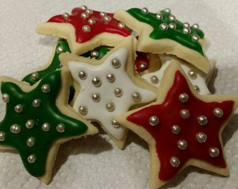 Homemade Decorated Iced Sugar Cookie Stars - 48 Cookies