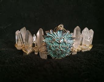 Crystal crown, Beltain Goddess Crown raw quartz, mermaid crown,green man, spring crown, goddess crown tiars