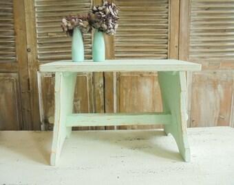 Vintage stool stool step table stool Shabby Chic turquoise