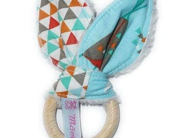 Rattle Teether wooden rabbit in cotton - TIPI Indian - ears