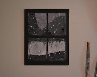 16 x 10 Canvas Rainy Day Acrylic Painting