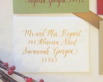 Wedding Envelope Calligraphy- Event Calligraphy- Wedding Envelopes- Gold