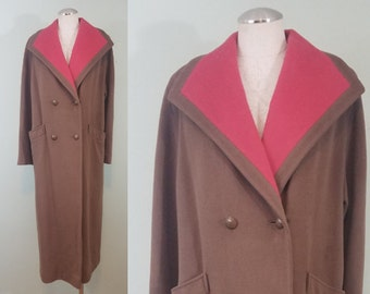 1980s Neopolitan Oversized Overcoat / Brown and Coral Winter Wool Jacket / Jewel Buttons / Modern Size Large