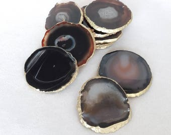 Set of 2+, 8-10cm Black and White Agate Stone Coasters with Gold edge-set of 2, 4 or 6 luxury home decor