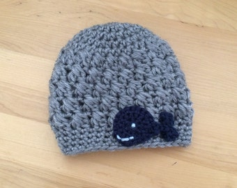 Crochet Whale hat, Gray and navy infant hat, baby boy, toddler winter hat