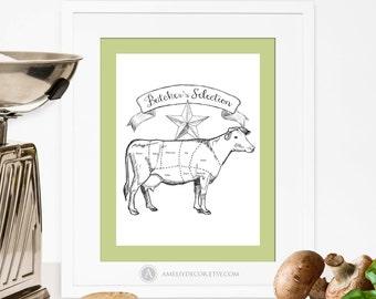 Butcher Diagram Cow Print Printable Kitchen Art Butcher Chart Cuts Of Meat Kitchen Print Cow Diagram Home Decor BigSize PDF Digital Download