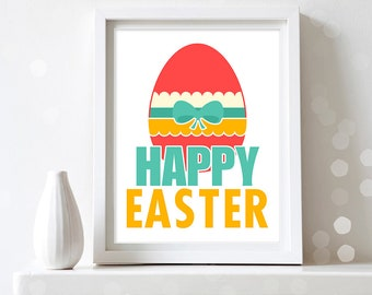 Easter Wall Art Easter Egg Print Printable Wall Decoration Happy Easter Art Print Easter Sign Easter Gift Spring Home Decor Digital Download