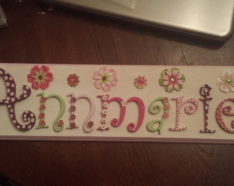 Flower girl name plaque nursery wall sign