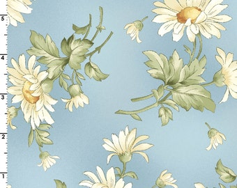 Gentle Breeze - Per Yd - Maywood Studio - Tossed Daisies on Blue