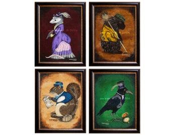 Victorian Forest Animal Prints Series 2 (4 prints)