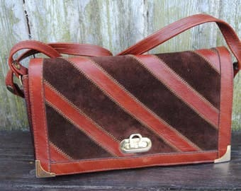 Vintage  genuine leather patch work burgundy red brown  shoulder bag purse from 70's