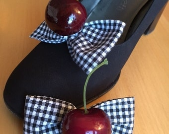 Shoe sanding shoe clips black and white checkered with cherries