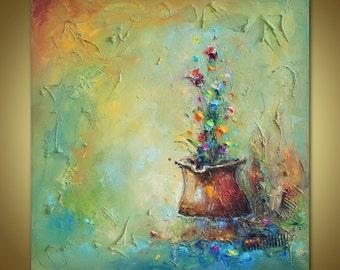Flowers Oil Painting, Floral Art, Original Art, Canvas Painting, Oil Painting Abstract, Canvas Wall Decor, Kitchen Decor, Heavy Textured Art