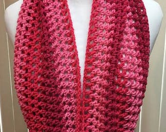 Pink Loop Scarf, Fashion Loop Scarf, Lightweight Acrylic Scarf, Crocheted Scarf, Gifts for Her, Circle Scarf, Infinity Loop Scarf
