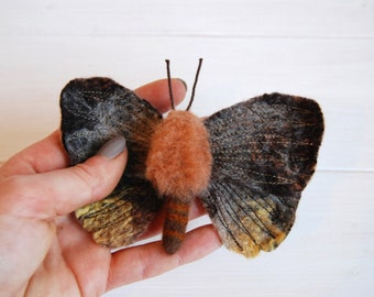 Needle Felt Moth, Felted Moth, Wool Sculpture, 3D Fibre Art, Fiber Art, Felted Insect, Garden Moth, Moth Sculpture, Needle Felted, Wet Felt