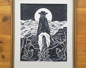 Night Rider - Original Block Print