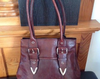 Dark brown wilson's leather shoulder bag and wallet