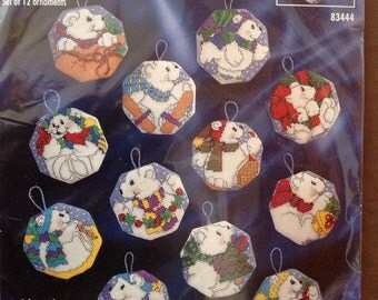 Bucilla counted cross stitch white christmas ornaments