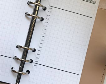 Sampler - Daily Planner Inserts - Hourly Schedule with Grid - Day On One Page - DO1P
