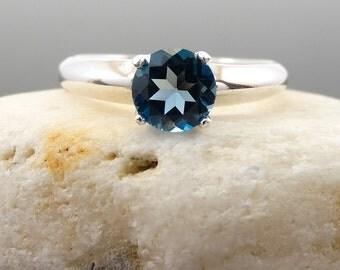 London topaz ring, ring blue topaz, sterling silver london topaz ring, topaz ring, london blue, ring size 7