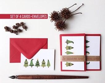 Set of Christmas Gift Cards, Holiday Greetings Cards, 4 Mini Christmas Cards, Holiday Gift Tags