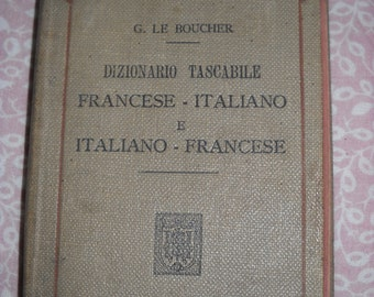 Antique pocket dictionary italian-french french-italian / 1912 / Antique collectible Book 1910s / Translation Book  /Hoepli/linguists gift/