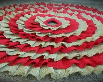 Burlap Christmas/Special Occasion Skirt: Red and Brown/custom colored Burlap Ruffle Rustic tree skirt