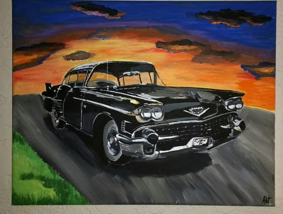 """Painting from photo, car painting, custom order, acrylic painting of car, 11""""×14"""", acrylic on canvas, painting car, painted car, classic car"""