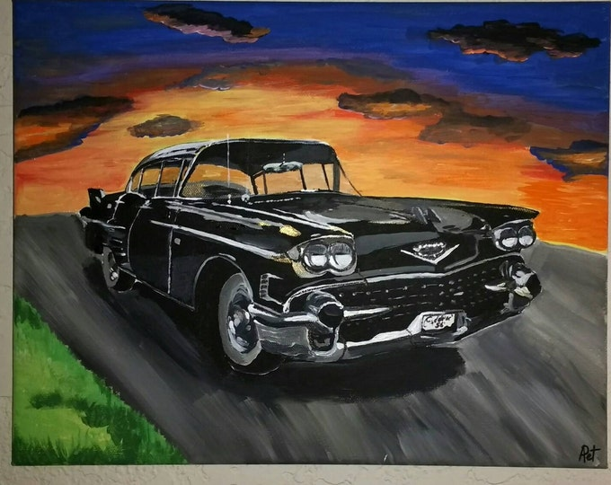 "Painting from photo, car painting, custom order, acrylic painting of car, 11""×14"", acrylic on canvas, painting car, painted car, classic car"