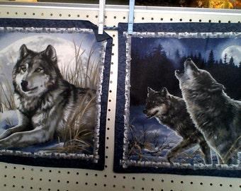 wolf pillows throw
