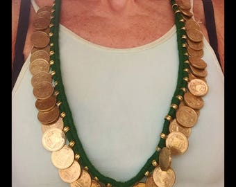 Arabic Coin Necklace, Brass Coins, beautiful