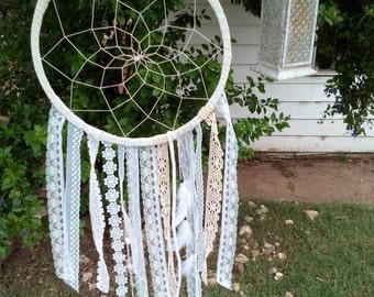 Heavenly white cream  dreamcatcher - handmade