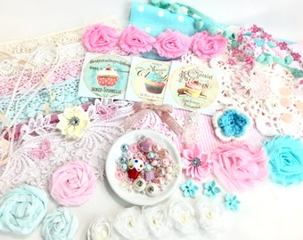 FREE SHIPPING Cupcake Lover Kit/Shabby Chic/Inspiration Kit/Craft Kit/Altered Box/Mixed Media/Doily Book/Banner/Cupcake/Altered Wall Hanging