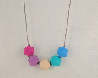 5 bead silicone teething necklaces