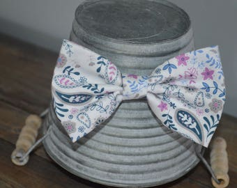 Blue and Purple Floral Bow