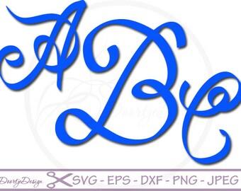Script Alphabet Font SVG DXF, eps font, Cut Files for Cricut, svg fonts, Letter Alphabet Set, eps Vector files, Vinyl Cut, Silhouette files