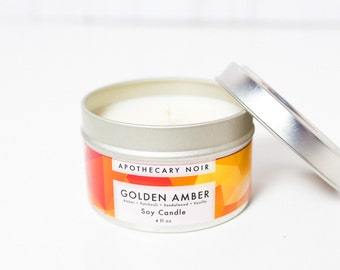 GOLDEN AMBER - Scented Soy Candle in Travel Tin - Amber + Patchouli + Sandalwood + Vanilla