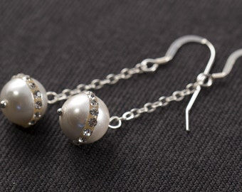 Sterling Silver and Rhinestone-banded Freshwater Pearl Earrings
