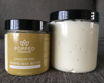 Body Butter, Natural, Handmade, Whipped, Cocoa Butter, Mango Butter, Sweet Almond Oil, Coconut Oil, Chocolate Mint
