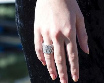 Stunning Chandelier Like Silver Ring