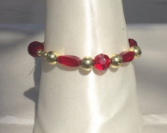 Translucent Red and Gold Glass Bead Bracelet