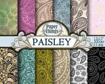 Paisley Digital Paper Clipart Floral Background, Paisley Pattern 12 Pack, Paisley Instant Download Paper Pattern, Decoupage Paisley - A14