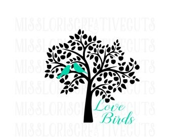 love birds and tree   SVG Cut file  Cricut explore file Love Wedding fabric decalscrapbook vinyl decal wood sign t shirt cricut cameo