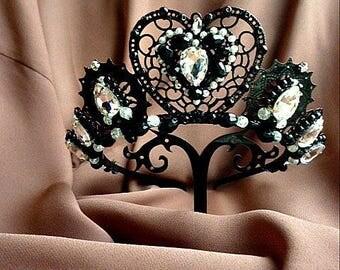 Black wedding crown Metal filigree Tiara White Swarovski Crystals distressed  embellished costume headdress Wedding Bridal jewelry royal