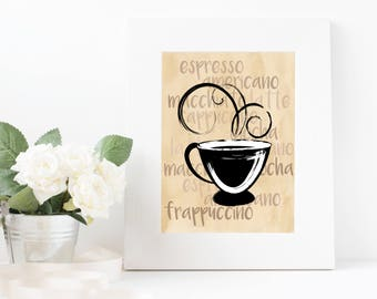 Coffee Wall Art Printable Instant Download