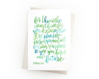 Encouraging Bible Verse Notecards - Scripture Watercolor - Greeting Card - Christian Encouragement - Religious - Jeremiah 29:11