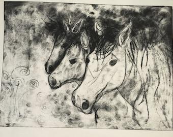 Wild Ponies Intaglio Print